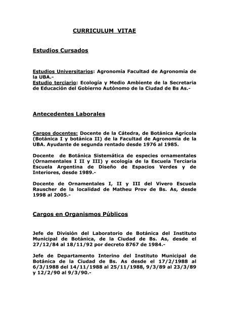 Curriculum Vitae Estudios Cursados Aves Argentinas