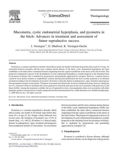 Mucometra Cystic Endometrial Hyperplasia And Pyometra In The