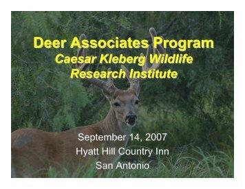 Deer Associates Program - Caesar Kleberg Wildlife Research Institute