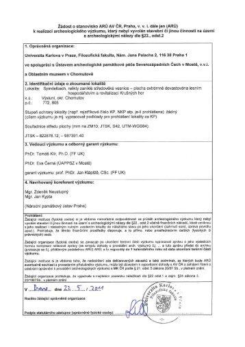 Žádost o stanovisko ARÚ AV ČR, Praha, v. v. i. dále jen (ARÚ)
