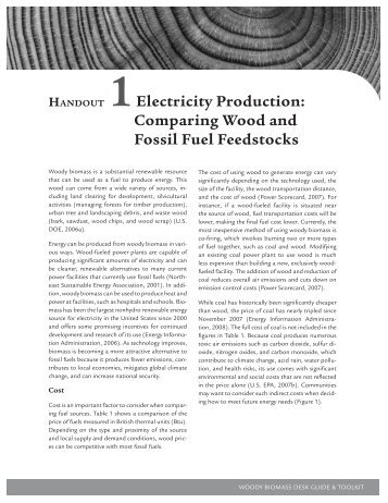 Electricity Production: Comparing Wood and Fossil Fuel Feedstocks