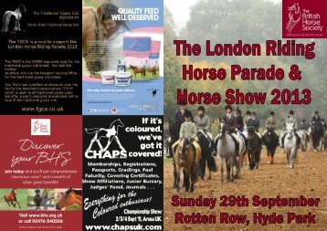 2013 Schedule - The London Riding Horse Parade and Horse Show