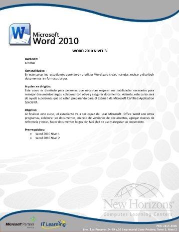 WORD 2010 NIVEL 3 - New Horizons