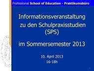 Präsentation der Informationsveranstaltung - Professional School of ...