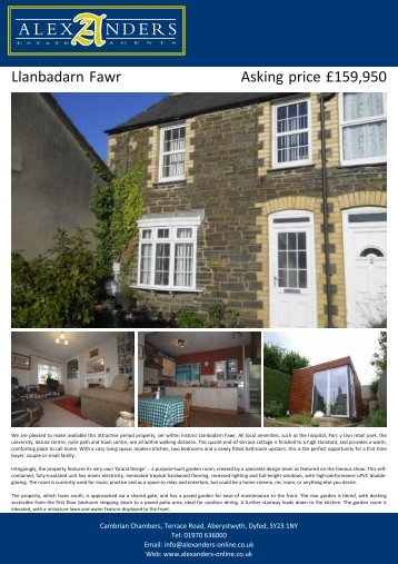 Llanbadarn Fawr Asking price £159,950 - Alexanders Estate Agents