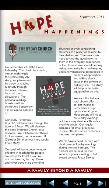 H appenings - Hope Fellowship Church