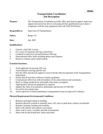 JD806 Transportation Coordinator Job Description   Derby Public .
