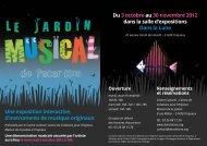 Une exposition interactive, d'instruments de musique originaux Du 3 ...