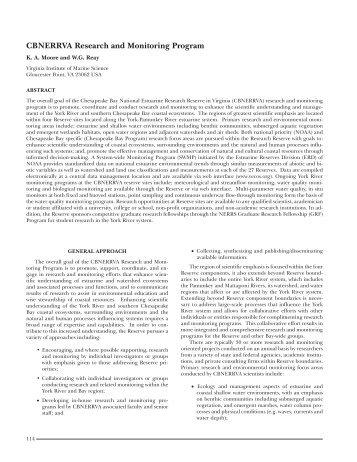 CBNERRVA Research and Monitoring Program - Virginia Institute of ...
