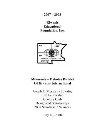 2007 – 2008 Kiwanis Educational Foundation, Inc. Minnesota ...
