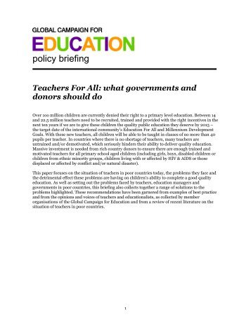 Teachers for All – GCE policy briefing (566KB) - VSO