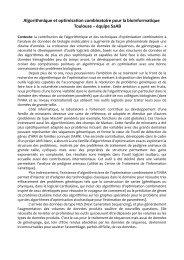 Algorithmique et optimisation combinatoire pour la ... - Inra