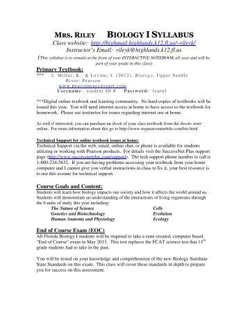 BIOLOGY I SYLLABUS - Email Me