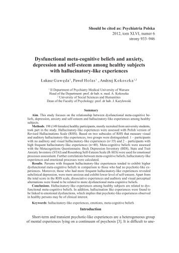 Dysfunctional meta-cognitive beliefs and anxiety, depression and ...