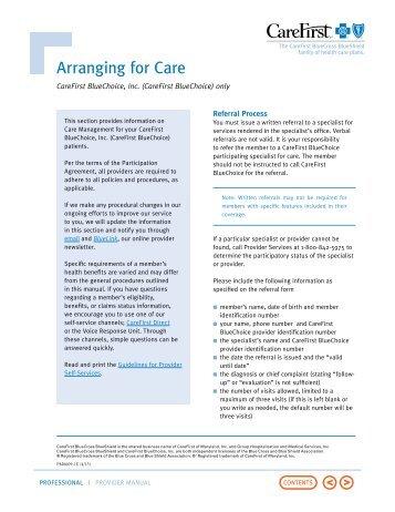 Arranging for Care - CareFirst BlueCross BlueShield