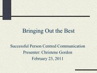 Successful Person Centred Communication - Canadian Dementia ...