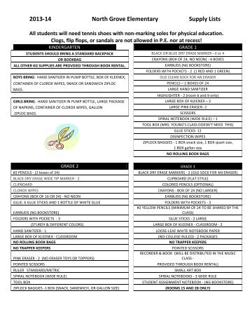 2013-14 1st-5th Grade Supply Lists - Center Grove Community ...
