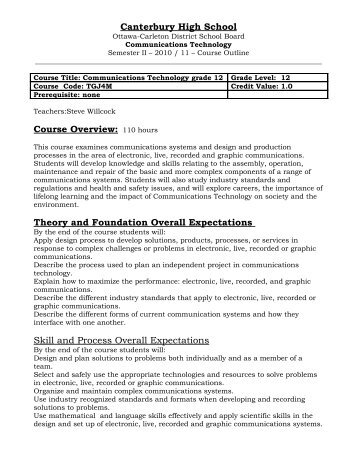 Grade 12 Communication Technology, TGJ4M - Canterbury High ...