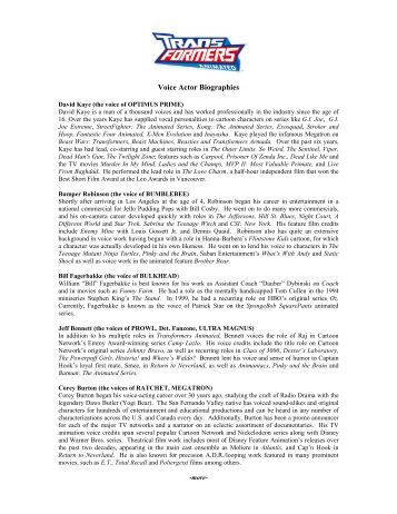 Voice Actor Biographies - Transformers Collectors' Club