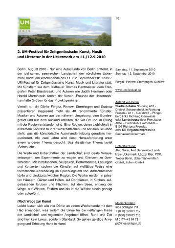 2. UM-Festival für Zeitgenössische Kunst, Musik und Literatur in der ...