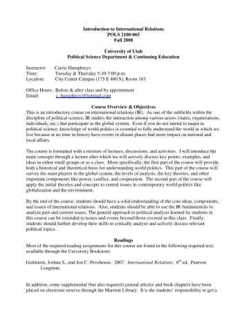 Introduction to International Relations POLS 2100-065 Fall 2008 ...