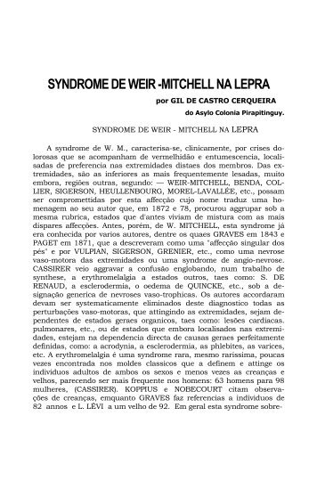 SYNDROME DE WEIR -MITCHELL NA LEPRA