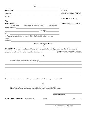 Small Claims Court Form - Wise County, Texas