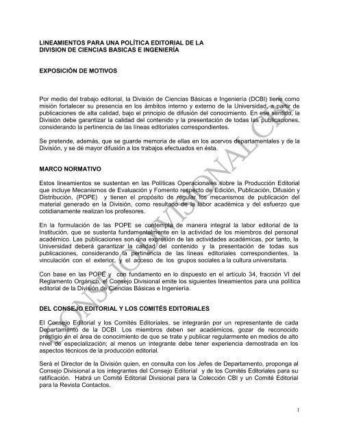 LINEAMIENTOS PARA UNA POLÍTICA EDITORIAL DE ... - CBI - UAM