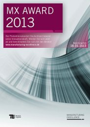 Alle Informationen zum MX Award 2013. - Manufacturing Excellence