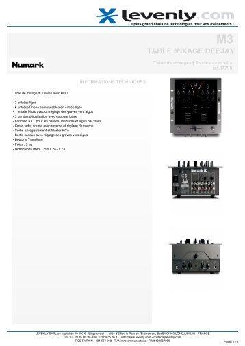 Fiche produit NUMARK - M3, TABLE MIXAGE DEEJAY ... - Levenly