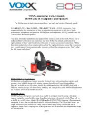 VOXX Accessories Corp. Expands Its 808 Line of ... - Audiovox