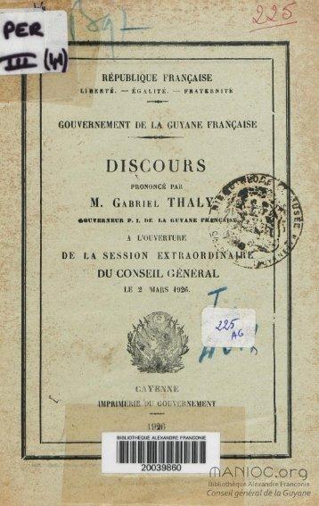 Discours prononcé par M. Gabriel Thaly Gouverneur P.I. de ... - Manioc