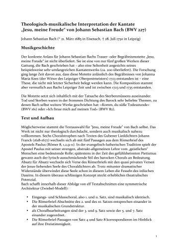 """Jesu, meine Freude"" von Johann Sebastian Bach (BWV ... - cantilena"