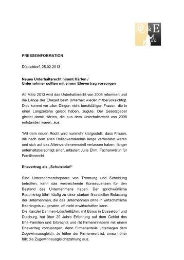 PRESSEINFORMATION Düsseldorf, 25.02.2013 Neues - Dahmen ...