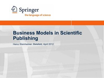 Business Models in Scientific Publishing - 10th International ...
