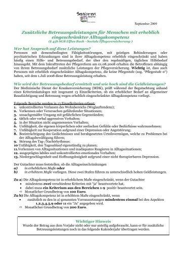 Informationen zu zusätzlichen Betreuungsleistungen - Seniorennetz ...