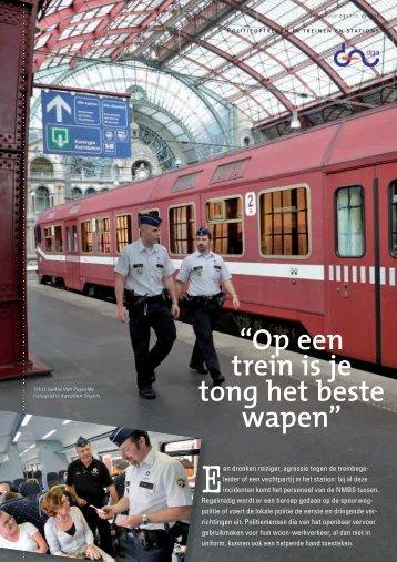 """""""Op een trein is je tong het beste wapen"""" - Federale politie"""