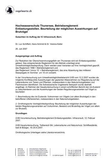 Hochwasserschutz Thunersee, Betriebsreglement ... - Infraconsult.ch