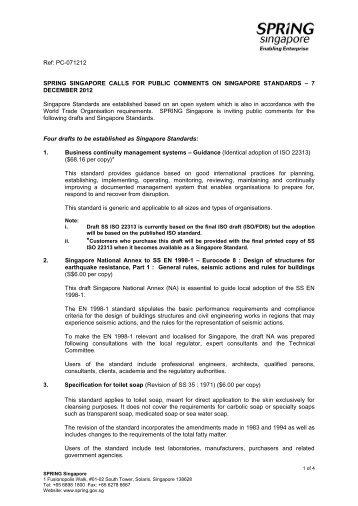 Ref: PC-071212 SPRING SINGAPORE CALLS FOR PUBLIC ...