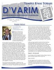December 2012/January 2013 - Temple B'nai Torah