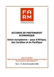 ACCORDS DE PARTENARIAT ECONOMIQUE ... - Fondation FARM