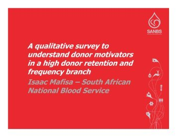 A qualitative survey to understand donor motivators in a high donor ...