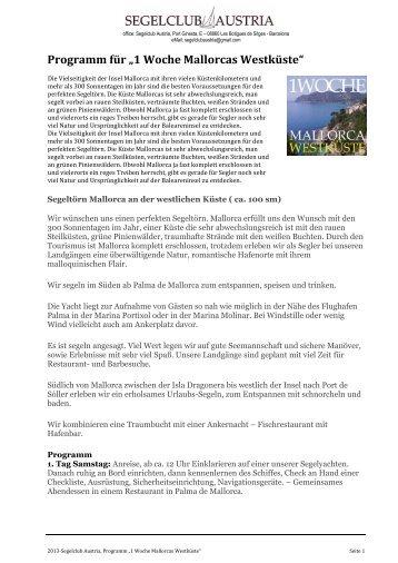 """2013-Programm für """"1 Woche Mallorcas Westküste"""" - WordPress.com"""