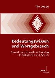 Bedeutungswissen und Wortgebrauch: Entwurf einer ... - narr-shop.de