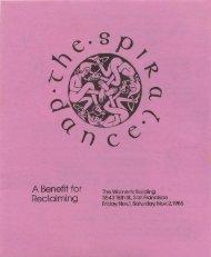 1985 Spiral Dance program - Reclaiming Quarterly