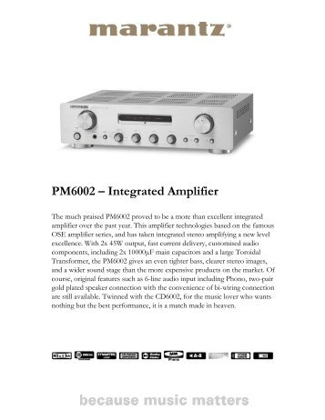 PM6002 – Integrated Amplifier - Marantz