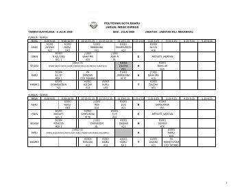 Jadual Waktu - Politeknik Kota Bharu