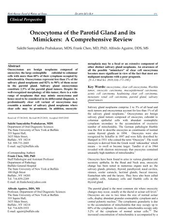 Oncocytoma of the Parotid Gland and its Mimickers - NAJMS: The ...