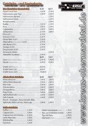 Getränke- und Speisekarte - Kreuz Obermarchtal