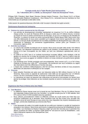 Compte-rendu de la Table Ronde Club Actionnaires Du 7 décembre ...
